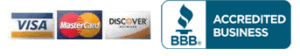 Better Business Bureau Logo and Credit Card Logos